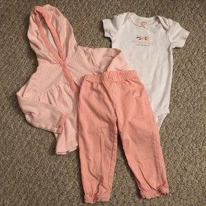 Baby Girl 3-Piece Hooded Peach Outfit